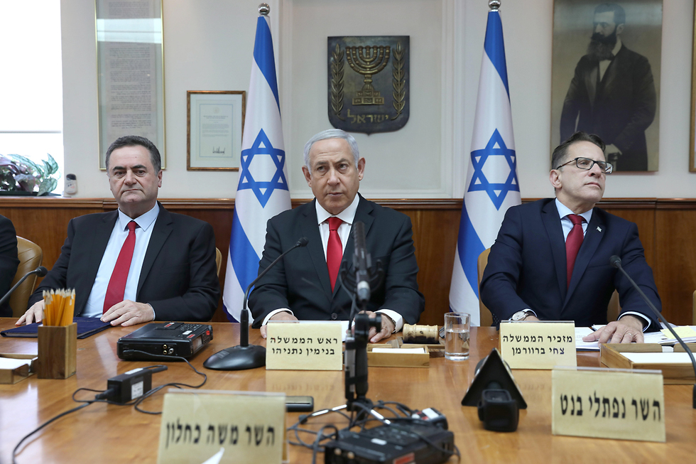 Prime Minister Benjamin Netanyahu during a government meeting on early May (Photo: EPA)