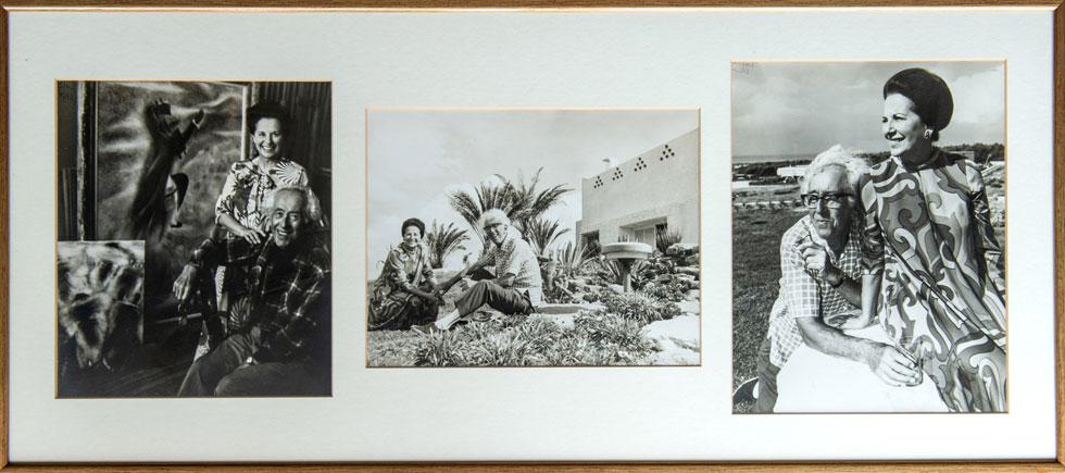 בני הזוג בצילומים התלויים בבית. האדריכל אריה אל-חנני היה חבר טוב של ראובן, וממנו הוא ביקש להגשים את רעיונותיו (צילום: אילן נחום )