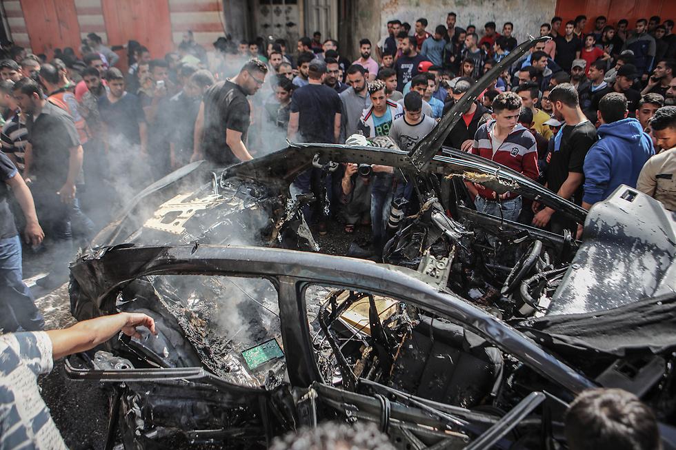 Машина, где был ликвидирован член Исламского джихада. Фото: EPA