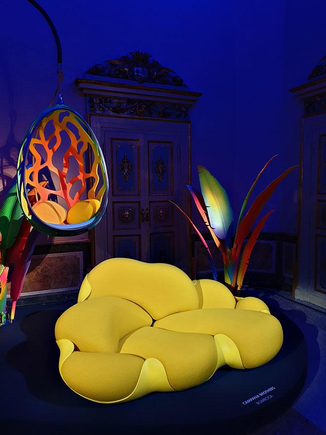 Cocoon, התוספת החדשה של האחים קמפנה ל-Objets Nomades, סדרת חפצי המותרות לבית של Louis Vitton, הוצגה בפלאצו סרבלוני (צילום: סיגל נמיר)