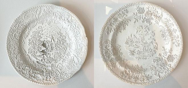 עוד מתערוכת Broken Nature: עבודות של האמנית הפינית Caroline Slotte, העוסקת בשאלות של זיכרון דרך צריבת דימויים חדשים על כלים ישנים