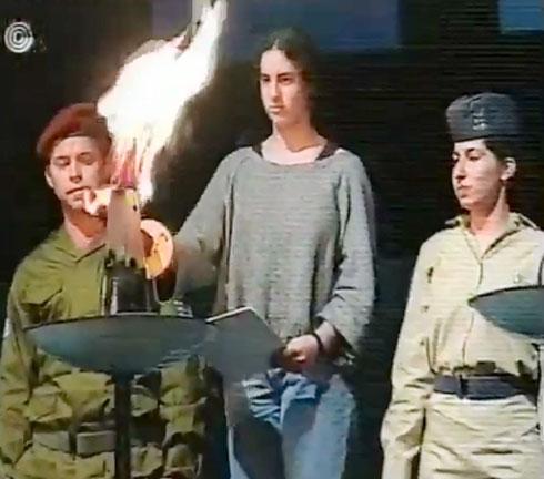 הגר מדליקה משואה בגיל 14 (צילום: מסך מהטקס)