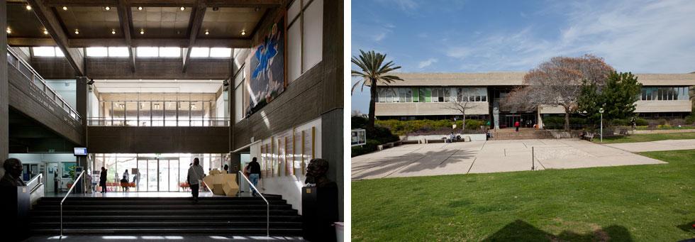 בניין מקסיקו באוניברסיטת ת''א זיכה את איתן וישר בפרס רוקח. ''הוספנו בספרדית 'בית מקסיקו' בשביל התורמים בקהילה היהודית, וככה זה נשאר'' (צילום: אלי איתן, אדריכלים: דן איתן יצחק ישר אדריכלים)