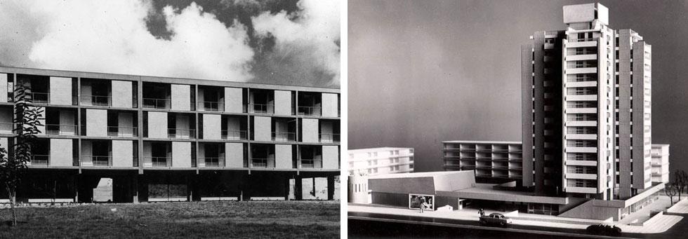 שכונה ד' ביפו, עם מגדל ה-14 הקומות שהיה חריג בגובהו באותה תקופה. ''כל הפרויקטים שלי משנות ה-60 עשויים מבטון'' (אדריכלים: דן איתן ויצחק ישר)