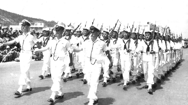 חיל הים במצעד 1953 בחיפה (צילום: אוסף דן הדני בספרייה הלאומית )