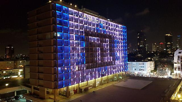 Tel Aviv municipality displaying Israel's colors