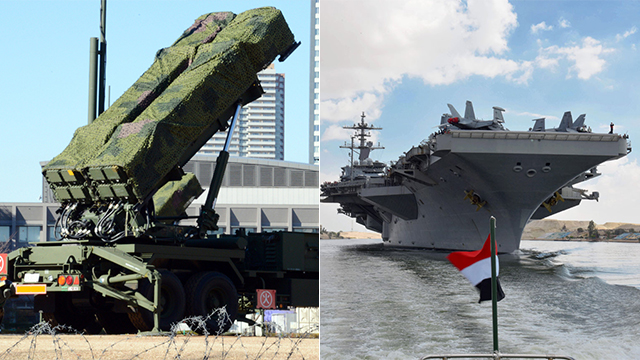 Patriot missile battery and USS Abraham Lincoln (Photo: EPA, AFP)