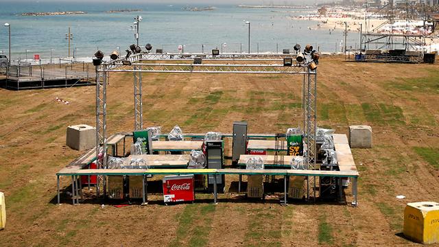 פארק צ'ארלס קלור בהכנות לקראת האירוויזיון בתל אביב (צילום: רויטרס)