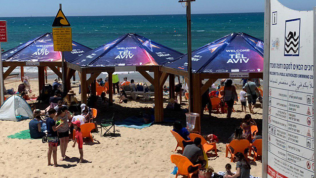 Eurovision logos on beach umbrellas in Tel Aviv (Photo: Shir Hadar)