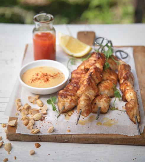 שיפודי עוף בחמאת בוטנים (צילום: דניאל לילה, סגנון: פסי ברניצקי)