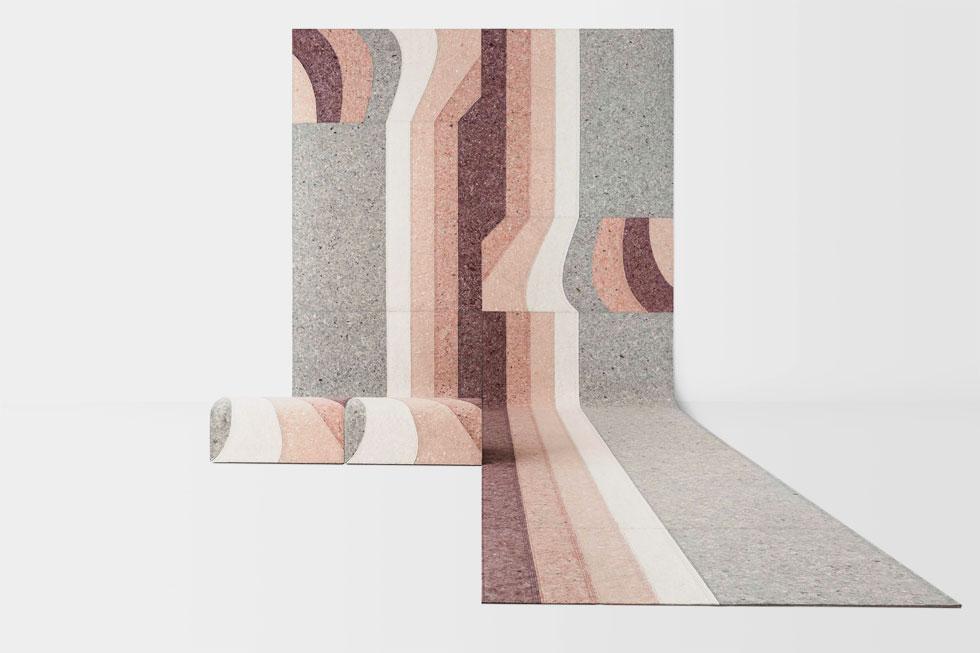 שטיח בעיצובה של פטריסיה אורקיולה, ''הביטאט''. הטראצו פופולרי לא רק במרצפות, אלא גם בכלים ובחפצי נוי, ואפילו במוצרי טקסטיל