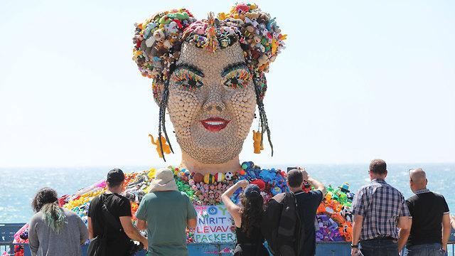 Sculpture of last year's winner Netta Barzilai in Eurovision village (Photo: EPA)