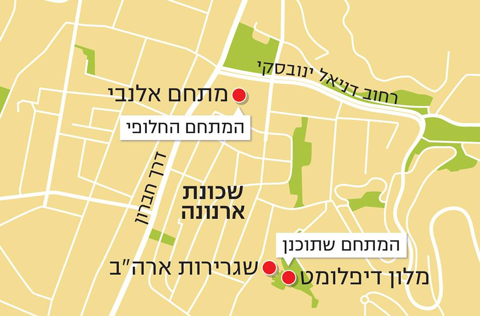 """Карта квартала Арнона: участок Алленби помечен верхней красной точкой, отель """"Дипломат"""" - нижней. Между ними возле отеля расположено нынешнее здание посольства"""