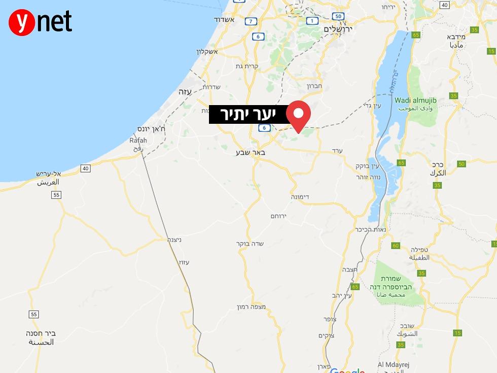יער יתיר במפת ישראל (Google Maps)