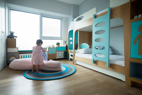 חדר הילדים בעיצוב שרית שני חי. רצו גם מגלשה, אך החדר לא רחב מספיק (צילום: רוני כנעני)