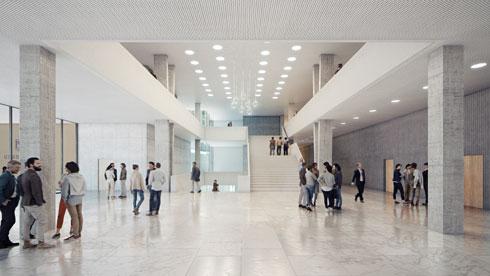 היכל המשפט בירושלים. זרחי ופניה, יחד עם זרחי-אדריכלים, זכות בתחרות. בחלוף חמש שנים, היא טרם מומשה (הדמיה: StudioPEZ, זרחי אדריכלים)