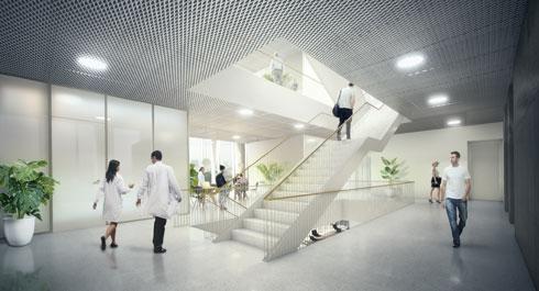 הדמיה של מבנה מו''פ באוניברסיטת ת''א, בשיתוף חברת ההייטק ''ברודקום''. זרחי הוא גם חלק מהמשרד המשפחתי, וגם עצמאי בו (הדמיה: StudioPEZ, זרחי אדריכלים)