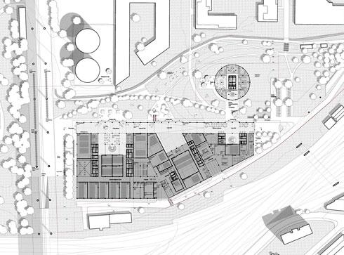 מה שמשותף לשלושת הבניינים הוא קומת קרקע המשכית, עם רחוב פנימי שמשקיף על פארק (הדמיה: Wulf Architekten, StudioPEZ)