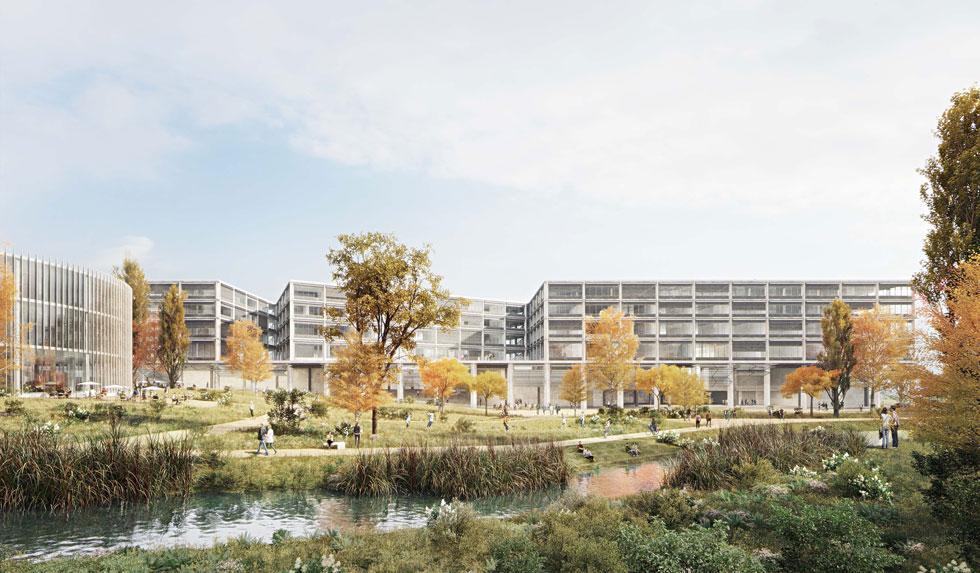 ההישג הגדול ביותר של זרחי ושותפו, פדרו פניה: זכייה בתחרות לתכנון קמפוס אקדמי גדול בברן, בירת שווייץ. תקציב ההקמה עולה על מיליארד שקל (הדמיה: Wulf Architekten, StudioPEZ)