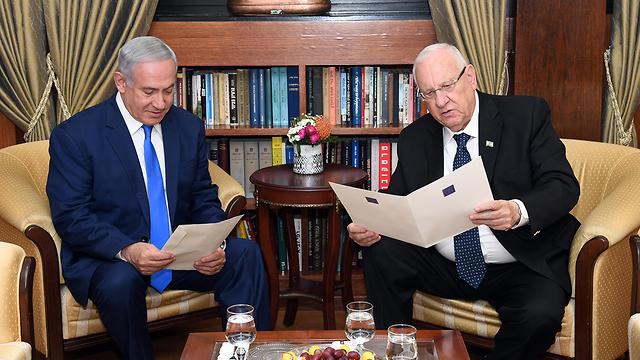 Rivlin granting Netanyahu  mandate to form a coalition