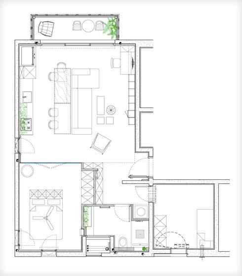 תוכנית הדירה. הקיר השקוף של חדר השינה מאפשר להכניס למטבח אור מכיוון נוסף (תוכנית: איתן כהן, Studio ETN)