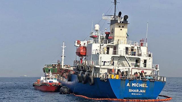תקיפת אוניות ו מכליות ב איחוד האמירויות האונייה א' מישל נושאת דגל האמירויות (צילום: AFP, Emirati National Media Council)