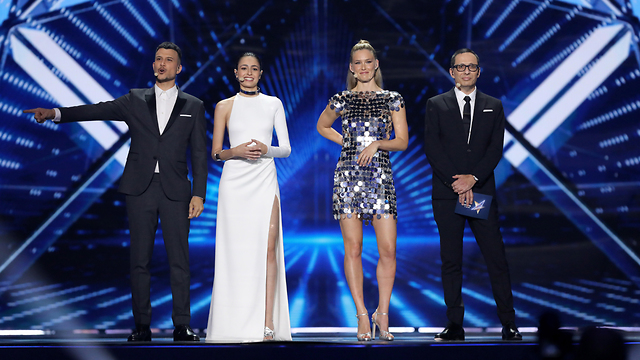 L-R: Eurovision hosts Assi Azar, Lucy Ayoub, Bar Refaeli and Erez Tal (Photo: EPA)
