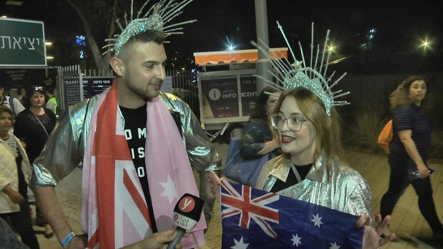 Australians Emma and Matt support their country's entry at the Eurovision Village in Tel Aviv (Photo: Meshi Ben Ami)