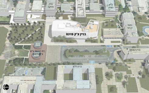 הבניין החדש על רקע הקמפוס, והכיכר החדשה ממערב לו (תוכנית: קימל אשכולות אדריכלים)