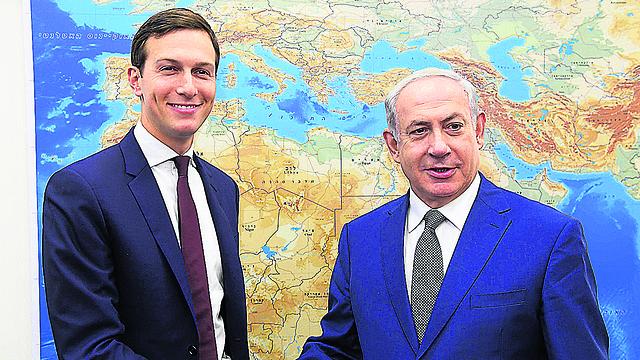 Jared Kushner and Benjamin Netanyahu meeting in the U.S.  (Photo: Amos Ben Gershom, GPO)