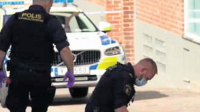 Police at the scene of the attack in Helsingborg