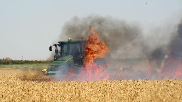 שריפה שנגרמה מבלון בתחום מועצה אזורית שדות נגב (צילום: רועי עידן)