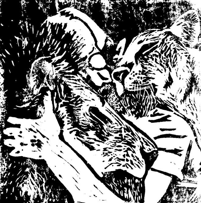 שחור לבן בחיתוך לינוליאום (איור: גולן בר גאון)