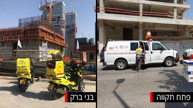 פועל נפל אתר בנייה בניין בני ברק (צילום: תיעוד מבצעי מד