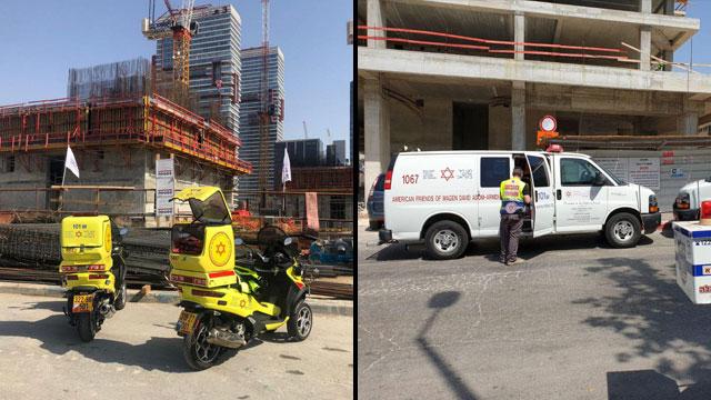 Mестa несчастных случаев в Бней-Браке (слева) и в Петах-Тикве. Фото: оперативная съемка МАДА