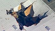 F-16 התרסק על מחסן בקליפורניה: כך זה נראה