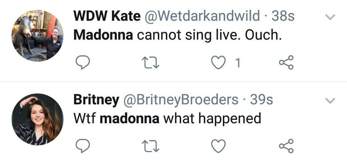 """Реакции в соцсетях: """"Мадонна не может петь в живом эфире"""", """"Мадонна, что случилось"""""""