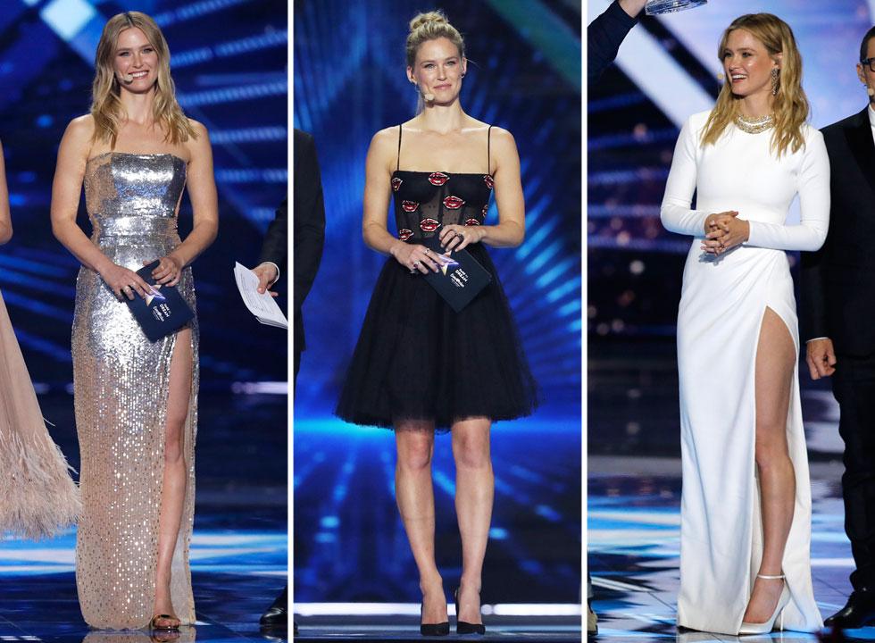 """רפאלי פתחה את השבוע בשמלה קצרצרה של איזבל מארה, ולחצי הגמר בחרה בשמלת """"ברברלה"""" עתידנית של פאקו רבאן. בהמשך עברה לשמלת שפתיים של גליה להב, שהזכירה את שמלות הטול של דיור. לפחות בגמר היא נראתה מצוין בשתי שמלות ערב של להב: אחת בכסף, השנייה בלבן (צילום: אורן אהרוני, AP)"""