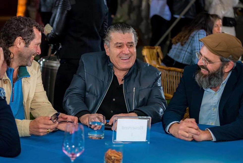 רכילות עסקית חיים סבן (במרכז) ויגאל גולדשטיין (מימין) (צילום: שבוע ישראלי)