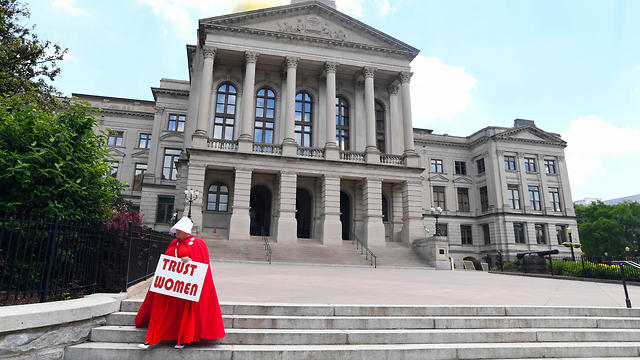 Activist Tamara Stevens at the Georgia Capitol in Atlanta during a protest against the recently passed 'heartbeat' bill on May 16, 2019