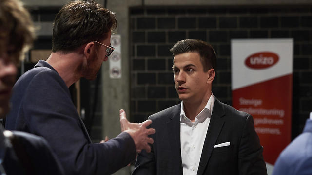 Vlaams Belang party candidate Dries van Langenhove, right, in April 2019