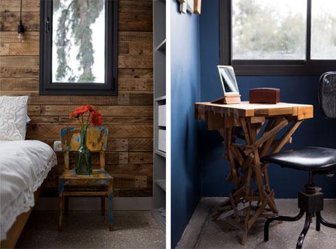 חומריות עשירה וצבעוניות חמה בחדר ההורים (צילום: שירן כרמל)