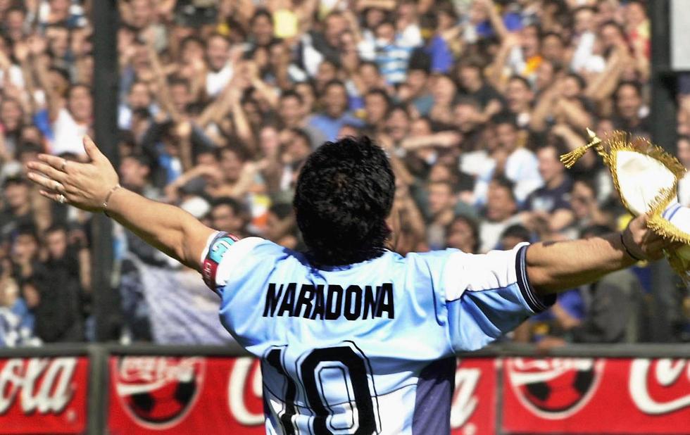 דייגו מראדונה במדי נבחרת ארגנטינה (צילום: AFP)
