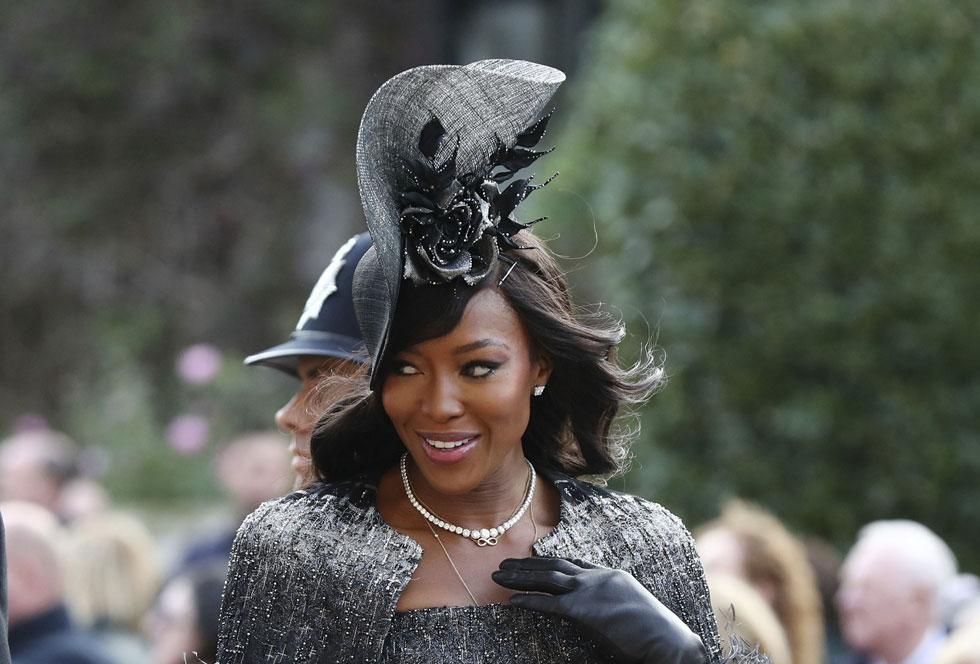 מלכותית. קמפבל מגיעה לחתונה של הנסיכה יוג'יני, 2018 (צילום: AP)