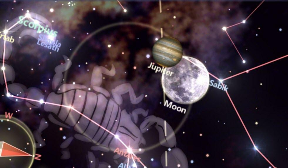 ההתקבצות הלילה. כוכב הלכת צדק שוהה בתקופה זו בתוך קבוצת הכוכבים עקרב (צילום מסך: מתוך אפליקצית StarTrecker)