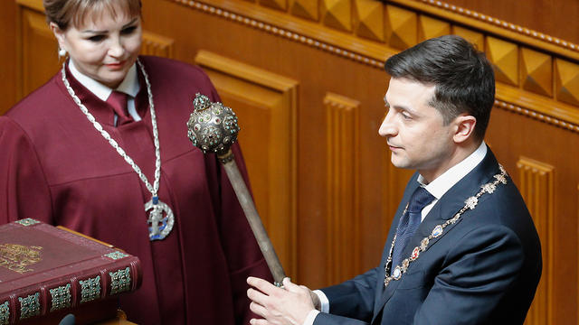 Volodymyr Zelenskiy during his inauguration in the Ukrainian parliament in Kiev, 20 May 2019