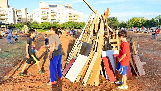 Israeli kids collect wood for Lag BaOmer (Photo: Shutterstock)