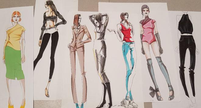 איורי אופנה הם קומת הפנטהאוז של המגדל הפורח של האופנה. שם אנחנו עושים שדרוג לשדרוג, מותחים את הנתונים הפיזיים של הציורים אל מעבר לגבולות ההיתכנות האנושית (איור: ארז עמירן)