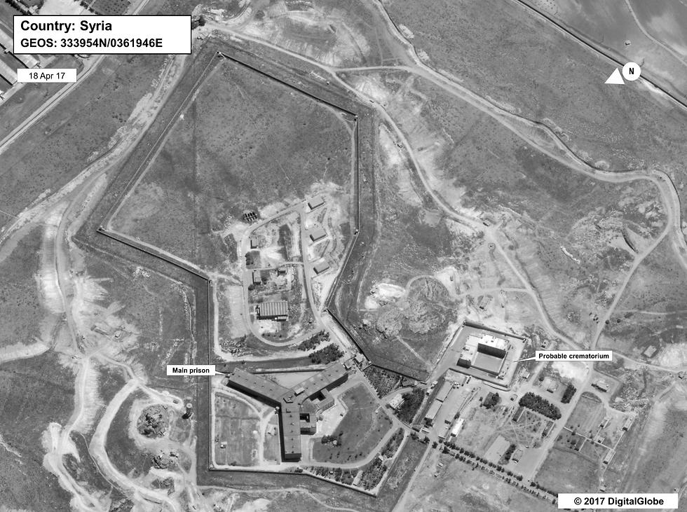 Building in a prison complex in Syria that was modified to support a crematorium