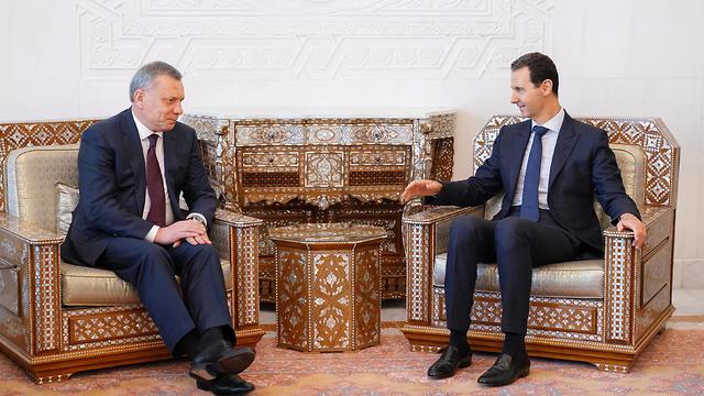 President Assad meeting with Russian Dep PM Yuri Borisov in Damascus